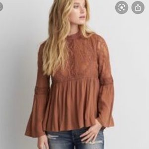 American Eagle Outfitters boho style brown blouse